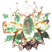 Emerald & Diamond Cluster Ring in 10K Gold