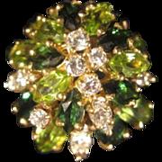 Peridot, Tourmaline & Diamond Ring in 18KT Gold