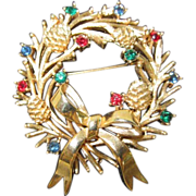 Trifari Christmas Wreath Pin