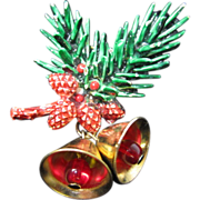 Signed ART Christmas/ Winter Pin w/ Evergreens, Pinecones and Bells