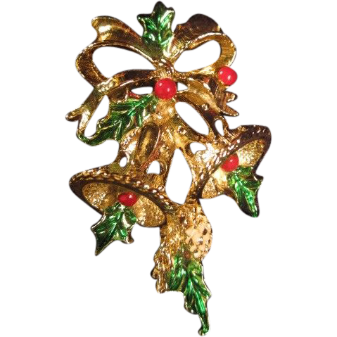 "Gerry's Christmas Pin ""Bells and Holly"""