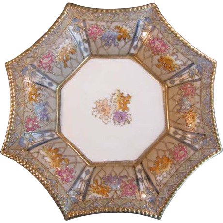 """Nippon 8 sided 7 1/2"""" Porcelain Pillow Dish"""