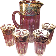 Heisey Tankard and 4 Glasses with Sterling Overlay