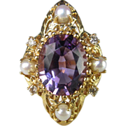 Amethyst, Diamond and Pearl Ring in 14K Yellow Gold