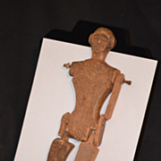 Old Wood Doll Carved Jointed Primitive Unusual Pegged