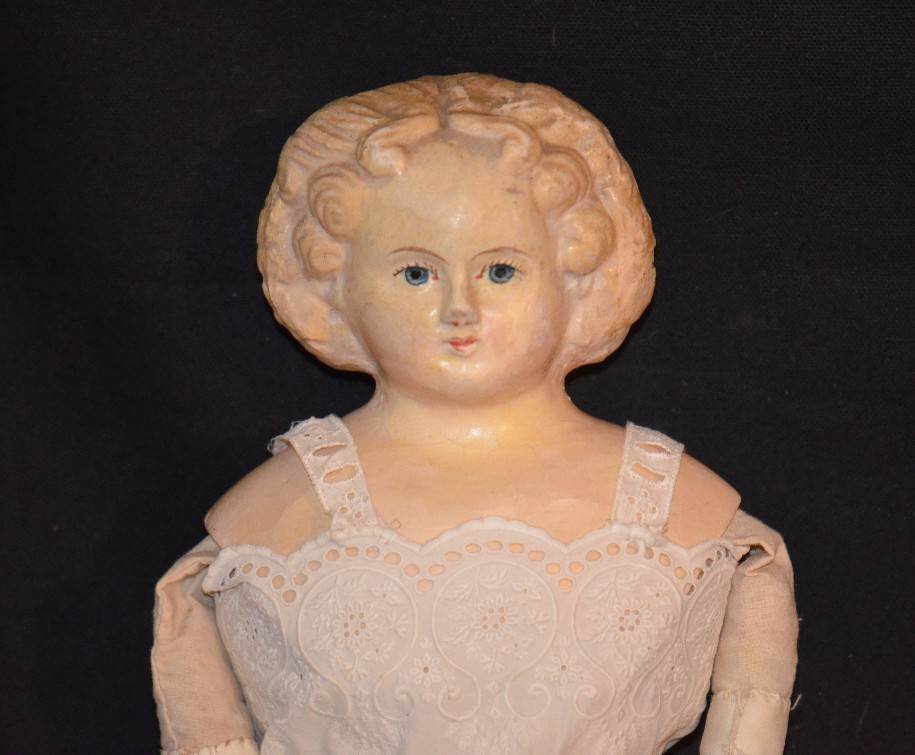 Sale Pending Maureen Antique Doll Greiner Papier Mache Unusual Hair Style W/ Tag