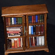 Vintage Doll Dollhouse Miniature Book Shelf W/ Books Book Case