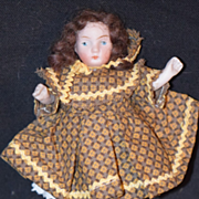Antique Doll All Bisque Miniature Doll Yellow Boots Dollhouse