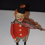 Antique Schuco Doll Mechanical Tin Wind Up Clown Violin