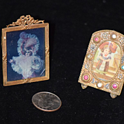 Old Doll Miniature Frame Set Ormolu & Jewels Two Frames Ornate Dollhouse Fashion Doll
