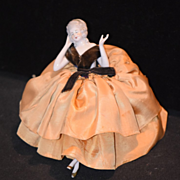 Antique Doll China Head Half Doll Fancy Arms Away W/ Legs