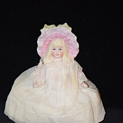 OLD Doll Bisque Molded Fancy Hat Bonnet Miniature Dollhouse