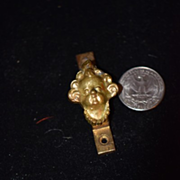 Old Doll Miniature Cherub Metal Head For Dollhouse Door Ornate