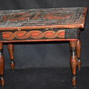 Antique Doll Table Old Wood Painted Folk Art Unusual For Fashion Doll or Cloth or Wood