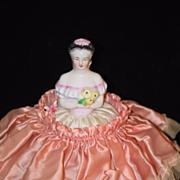 Old Doll Half Doll China Head In Original Can Powder Jar Unusual