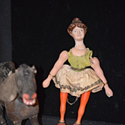 Antique Schoenhut Doll & Glass Eye Donkey Circus Lady Set