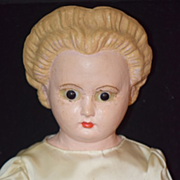 Antique Doll Wax Over Papier Mache Pumpkin Head Glass Eyes