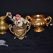 Old Doll Miniature Set Flower Pot & Flowers Pitcher & Matching Waffle Iron Dollhouse