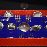 Old Doll Miniature Table Service Set in Original Box German Puppen-Tafel- Service Pots & Pans Dishes Dollhouse Flatware Metal