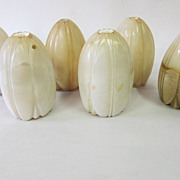 Six vintage alabaster tulip shades