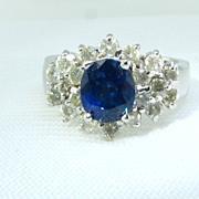 Gorgeous 2 Ct Natural Sapphire Diamond 18k Ring