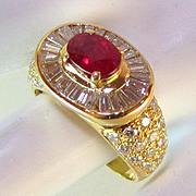 Magnificent 3.13 TCW Natural Ruby VS Diamond 18k Ring