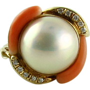 Stunning Pearl Coral Diamond 14k Ring