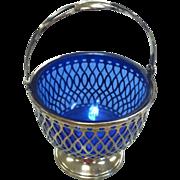 Sterling Silver Basket With Cobalt Blue Glass Insert