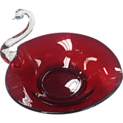 Depression Glass Large Ruby Swan Dish by Duncan Miller