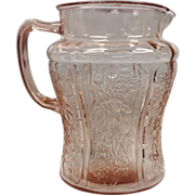Sharon Pink AKA Cabbage Rose 80 oz Pitcher By Federal Glass