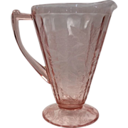 Depression Glass Floral Pink/Pointsettia Etched Pitcher By Jeannette