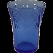 Royal Lace 5 oz Tumbler By Hazel Atlas In Cobalt Blue