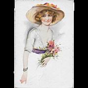 Vintage Postcard Rieuse De Paris Signed S. Meunier French Postcard Woman Bonnet Flowers