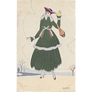 Vintage French Postcard 2515 Woman In Green Signed Maggy Monier