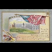 Vintage Patriotic Postcard American Flag, Soldiers, Horses and Bugle