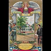 Vintage Patriotic Postcard Sword And Pen Abraham Lincoln