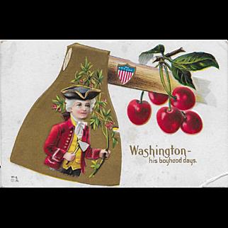 Vintage Patriotic Postcard George Washington - His Boyhood Days