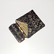 Lovely Vintage Compact and Lipstick Holder