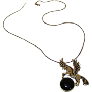 Sterling Silver 925 Onyx Pegasus Horse Pendant Necklace. Mexican Silver. Taxco. Figurals