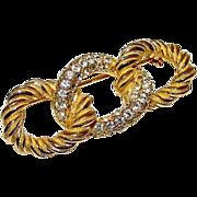 DIOR Designer Swarovski Crystals Gold Plated Brooch
