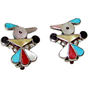 Old Pawn Native American Zuni Thunderbird Turquoise Coral MOP Inlay Clip On Earrings