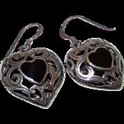 Sterling Silver 925 Onyx Inlay Filigree Heart Shaped Pierced Earrings