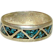 Native American Navajo Sterling Silver 925 Turquoise Chip Inlay Ring Band Size 9