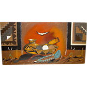 Vintage Native American Navajo Sand Painting Signed by the Artist