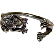 Vintage Sterling Silver 925 Mexican Taxco Figural Frog Napkin Ring