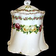 Antique Victorian RC Versailles Bavaria Porcelain Cookie Cracker Biscuit Jar Canister
