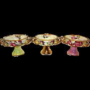 Victorian Porcelain Lustrous Footed Pedestal Dessert Bowls with Handles Floral Guilt Design Set of 3