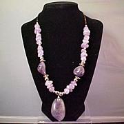 Navajo Necklace, Natural Amethyst, Sterling Native American