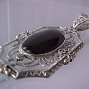 Estate Victorian-style, Onyx & Sterling Silver Pendant