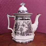Antique English Staffordshire Teapot Black Transferware 1834-59